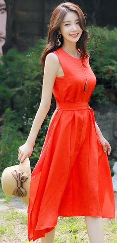 StyleOnme_Side Slit Detail Belted Long Dress #red #orange #summerlook #koreanfashion #kstyle #kfashion #seoul #dress