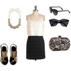 Classic black and white look for #graduation #fashion