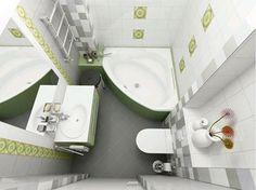 Прекрасно подобранные цвета и удобная угловая ванная, что еще нужно для удачного интерьера.