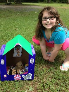 American Girl Doll AG 18'' Doll Doghouse! American Girl Doll Doghouse!  Mini Doghouse made from recycled detergent box