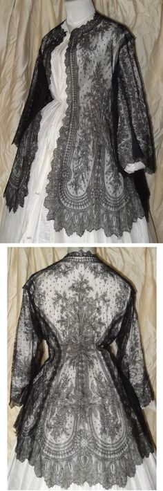 Hand Made Antique Civil War Era Black Silk French Chantilly Lace Pagoda Sleeve Jacket, 1860's