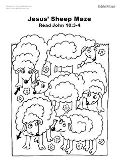Bijbel schapen doolhof bij het verhaal van de goede herder? Of het verloren schaapje? // Bible Sheep Maze. Use with Jesus the good shepherd or the lost sheep?
