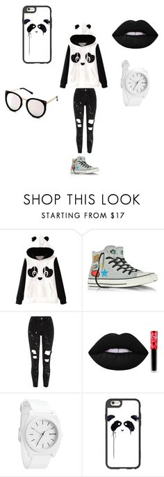 Panda by divadionne-duh on Polyvore featuring Converse, Casetify and Lime Crime