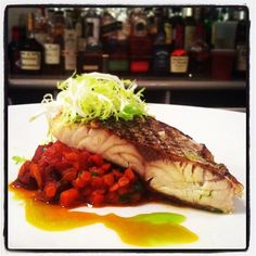 *Special* at Oyster Bar- Wild Striped Bass:  w/ pink lentils, smoked chorizo, étouffée sauce. $24.00 #food #themermaidnyc #fish #specials