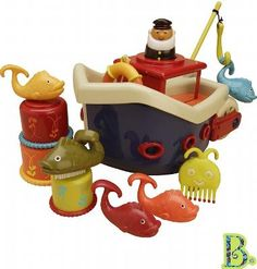 B Toys Zestaw do kąpieli - Statek z akcesoriami - O teraz Mali pogromcy mórz mogą zabrać do wspólnej kąpieli kapitana i jego okazały statek! Dzielny kapitan wyrusza właśnie w kolejny rejs, tym razem chętnie popływa w Twojej wannie. Masz ochotę potowarzyszyć mu w jego morskich przygodach!?