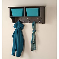 @Overstock - Perfect for townhouses and condos, the 36 inches Wide Hanging Entryway Shelf will help keep your gloves, hats, coats and jackets organized.http://www.overstock.com/Home-Garden/Everett-Espresso-36-inches-Wide-Hanging-Entryway-Shelf/6734996/product.html?CID=214117 $89.90