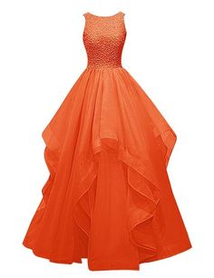 Long Prom Dress Asymmetric Bridesmaid Dress Beaded Organza Gown: Clothing