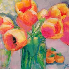 floral painting by artist Whitney Heavey acrylic Daily Painters, Tulips, Fine Art, Canvas, Drawings, Creative, Florals, Artist, Prints