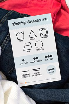 Printable Clothing Care Symbol Chart by Sarah Hearts
