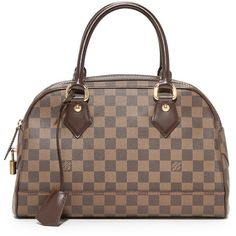 Pre-owned What Goes Around Comes Around Louis Vuitton Damier Duomo... ($1,705) ❤ liked on Polyvore featuring bags, handbags, lv print, brown satchel purse, pocket purse, brown purse, brown satchel handbag and leather satchel