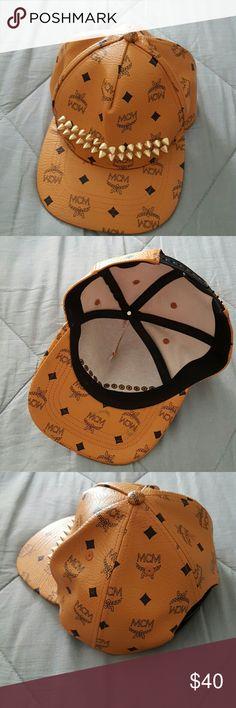Designer MCM logo studded adjustable cap MCM logo tan and gold studded adjustable cap no brand MCM Logo Accessories Hats