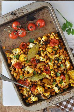 Anja's Food 4 Thought: Spicy Roasted Cauliflower Tomato Salad with Raisins