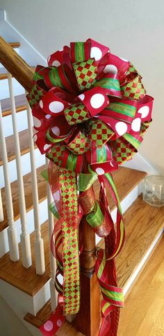 Christmas Tree Topper Tree Bow Large Red and Lime Green