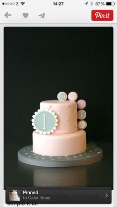 Love how simple it is! - For all your cake decorating… Rodjendanske Torte, 1st Birthday Cakes, Pink Birthday, Just Cakes, Occasion Cakes, Girl Cakes, Fancy Cakes, Love Cake, Sweet Cakes