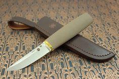 Spyderco Puukko Fixed Blade Brown G10 Handle CPM-S30V Steel Satin Blade Plain Edge Knife FB28GBNP
