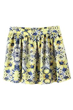 ROMWE | ROMWE Floral Print Elastic Pleated Skirt, The Latest Street Fashion