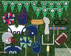 Instant Download Super Bowl Photo Booth by InkOrchardPrintables
