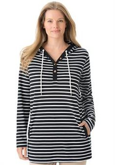 Plus Size 7-Day hoodie tunic with contrast trim