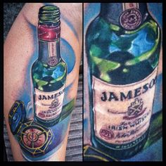 Jameson Whiskey and compas tattoo by Johnny Smith