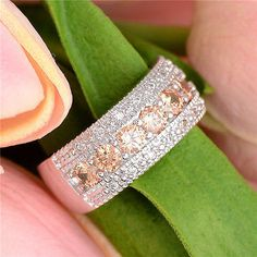 Fashion-Silver-Plated-Ring-Champagne-Cubic-Zirconia-Woman-Wedding-Ring-Size-6-9