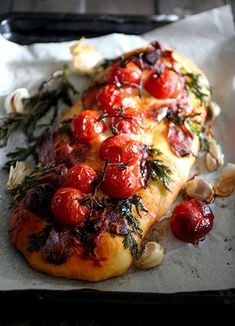 Bacon Focaccia with Cherry Tomatoes