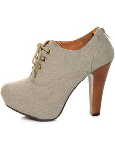 Lulu's - Vegan Shoes - Qupid Puffin 28 Stone Canvas Lace-Up Ankle Booties. ($ 39)