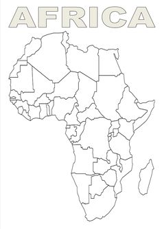 blank african map for labeling and praying