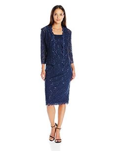 Alex Evenings Women's T-Length All Over Lace Jacket Dress with Sequin Detail, Navy, 6 Petite Our all over stretch lace jacket dress with 3/4 sleeve jacket and sequin detail is perfect for a wedding. Great for mother of the bride or guest of.Sequin stretch laceJacket dressCB zipper