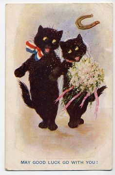 BLACK  CATS  WEDDING DAY    INTER-ART  OLD  POSTCARD  1919
