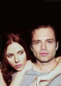 Scarlett Johansson and Sebastian Stan. No no no, this is the Black Widow and the Winter Soldier. WinterWidow NEEDS to happen in the MCU!!!