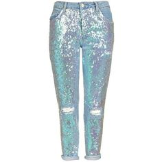 TopShop Moto Sequin Hayden Jeans (375 BRL) ❤ liked on Polyvore featuring jeans, topshop jeans, low-rise boyfriend jeans, bleached denim jeans, sequin jeans and oversized jeans