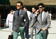 the green pants and the mix - Tommy Ton's Street Style: Pitti Uomo: Style: GQ