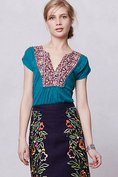 Embroidered Ikat Tee #anthropologie