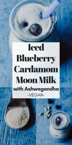 This Iced Moon Milk recipe with blueberry and cardamom is truly REFRESHING, creamy, delicious and pa Healthy Eating Tips, Healthy Drinks, Healthy Nutrition, Healthy Food, Moon Milk Recipe, Ayurvedic Herbs, Ayurveda, Non Alcoholic Drinks, Beverages