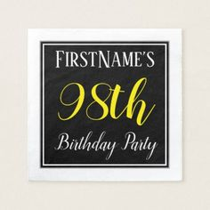 Simple 98th Birthday Party w/ Custom Name Paper Napkin - birthday gifts party celebration custom gift ideas diy