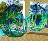 hanging chair in blue Hanging Hammock Chair, Swinging Chair, Hanging Chairs, Saddle Chair, Drum Chair, Beautiful Dream Catchers, Bohemian House, Cool Chairs, Swing Chairs