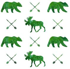 moose, bear, and arrows || watercolor green fabric by littlearrowdesign on Spoonflower - custom fabric