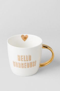 Gold and White Hello Gorgeous Mug