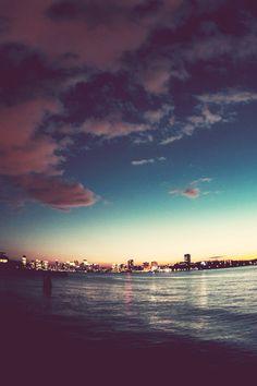 (3) Tumblr Beach, sea, city, blue, sky, Night was falling, lights, beautiful