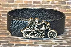 Men's Black Leather Cuff Bracelet Motorcycle by DesignsByJen1