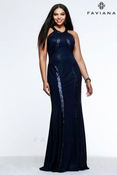 225530adc48 Faviana 9365 Plus Glitter Jersey Prom Gown- High neck glitter jersey floor  length plus size prom dress with unique open back design.