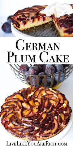 Plum Cake German Plum Cake - A combination of a deliciously moist lemon tart topped with sweet plums baked to perfection.German Plum Cake - A combination of a deliciously moist lemon tart topped with sweet plums baked to perfection. Plum Recipes, Fruit Recipes, Sweet Recipes, Cake Recipes, Dessert Recipes, Cooking Recipes, Pie Dessert, German Desserts, Easy Desserts