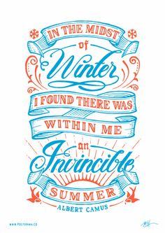 Inspirational quotes: Albert Camus Invincible Summer poster 3