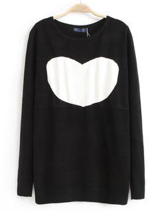 Black Long Sleeve Heart Pattern Knit Sweater US$32.13