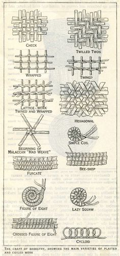 The Craft of Basketry: Main Varieties of Plaited a. The Craft of Basketry: Main Varieties of Plaited and Coiled Work Basket Weaving Patterns, Willow Weaving, Fence Weaving, Pine Needle Baskets, Paper Weaving, Weaving Art, Newspaper Crafts, Weaving Projects, Pine Needles