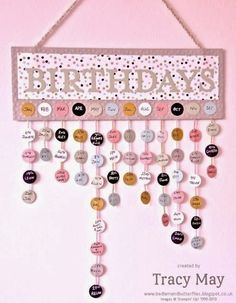 "Pinkies Stampin' Up! Sale-a-bration Blog Hop......... ""Birthdays"" wall hanger, typeset alphabet bigs, 3/4"" circle punch, SAB - decorative dots tied, sweet sorbet DSP"
