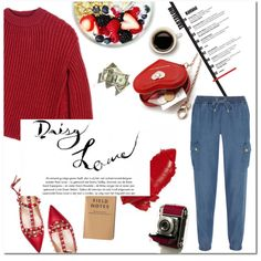 Cozy Morning Look by mjangirashvili on Polyvore featuring moda, Sportmax, MICHAEL Michael Kors, Valentino, red, cozy, comfy, DenimStyle and mornig