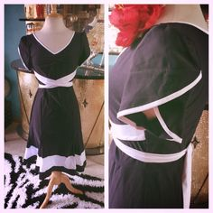 1940s inspiration, Retro Wiggle Dress Navy Blue White Trim. Rockabilly Pinup Swing 40s #Miusol #WigglePencil