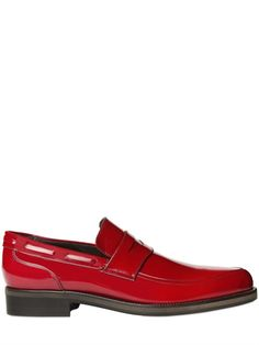 BRUSHED LEATHER POINTED PENNY LOAFERS Brogues, Leather Loafers, Red Leather, Jimmy Choo, Luxury Shop, Guys Be Like, Penny Loafers, Men's Shoes, Oxford Shoes