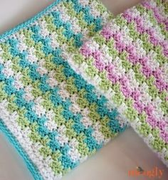 Leaping Stripes and Blocks Blanket - free crochet pattern on Moogly! I love the yardage and size chart